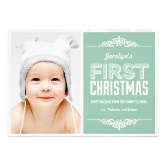 Premier carte de fin de année de Noël du bébé - Ba Invitations Personnalisées