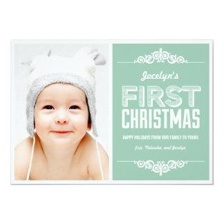 Premier carte de fin de année de Noël du bébé - Carton D'invitation 12,7 Cm X 17,78 Cm