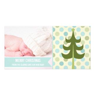Premier carte photo de Noël de bébé mignon de rayu Photocarte Personnalisée