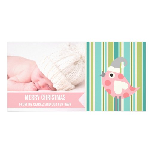 Premier carte photo de Noël de bébé rose mignon de Photocarte