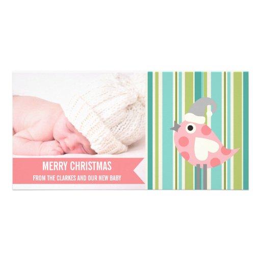 Premier carte photo de Noël de bébé rose mignon de Carte Avec Photo