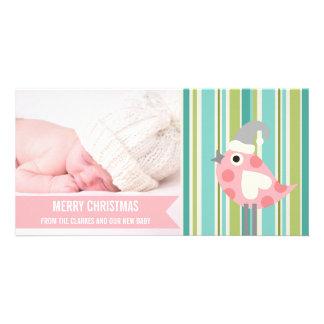Premier carte photo de Noël de bébé rose mignon de Modèle Pour Photocarte
