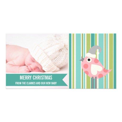 Premier carte photo de Noël de bébé vert mignon de Cartes Avec Photo