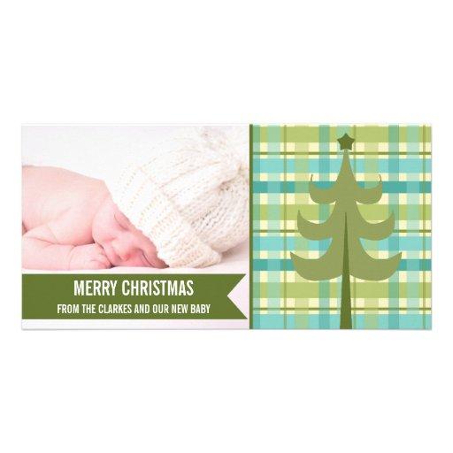 Premier carte photo de Noël de bébé vert mignon de Cartes De Vœux Avec Photo