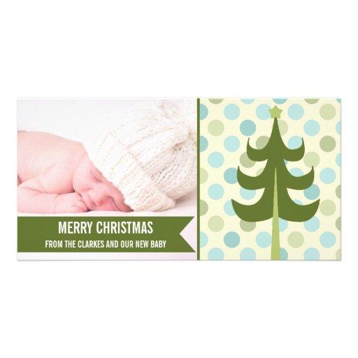 Premier carte photo de Noël de bébé vert mignon de Photocartes Personnalisées