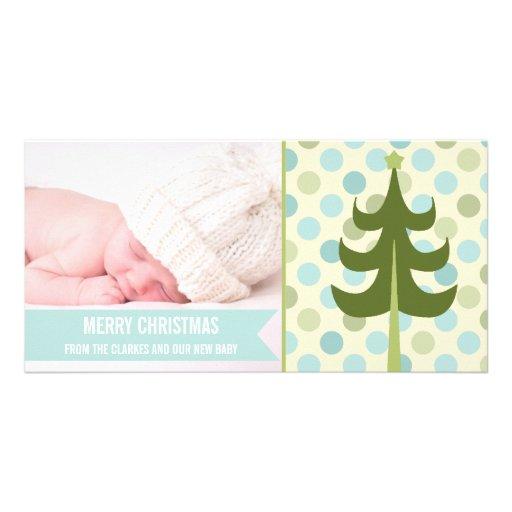 Premier carte photo de Noël de chaux de bébé migno Carte Avec Photo