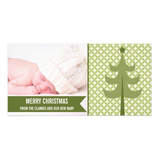 Premier carte photo de Noël de rétro bébé vert mig Cartes De Vœux Avec Photo