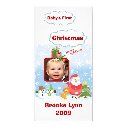 Premier carte photo de Noël du bébé Carte Avec Photo