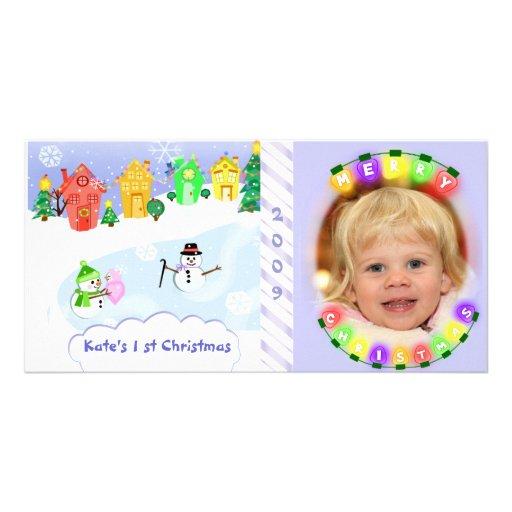 Premier carte photo de Noël du bébé Photocarte Customisée