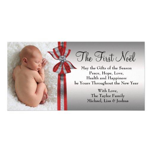 Premier carte photo de Noël du bébé argenté rouge  Cartes De Vœux Avec Photo