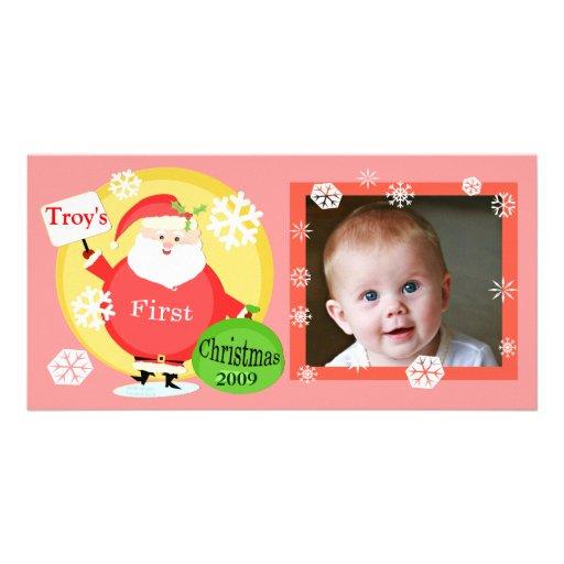 Premier carte photo de Noël du bébé fait sur comma Modèle Pour Photocarte