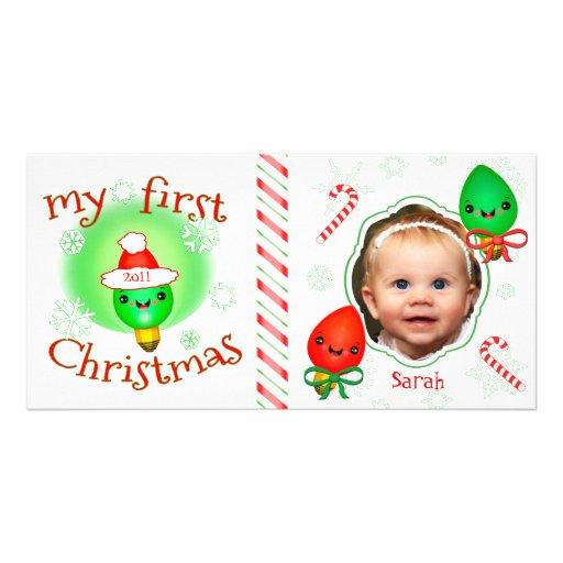 Premier carte photo de Noël du bébé fait sur comma Photocartes Personnalisées