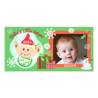 Premier carte photo de Noël du bébé fait sur comma Photocartes