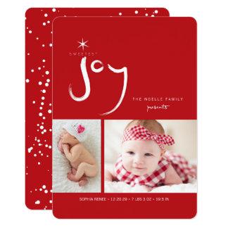 Premier carte photo de Noël du bébé mignon de joie