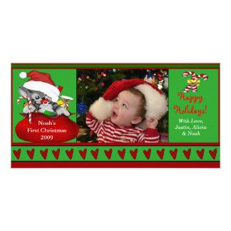 Premier carte photo de Noël du bébé Modèle Pour Photocarte