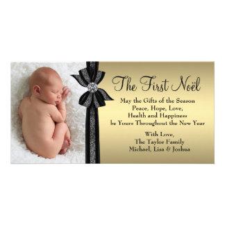 Premier carte photo de Noël du bébé noir d'or Photocartes Personnalisées