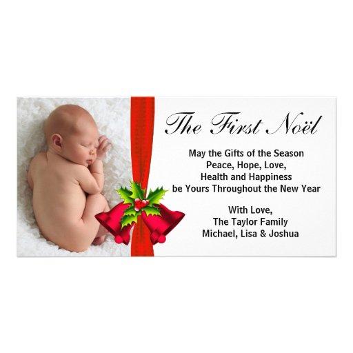 Premier carte photo de Noël du bébé rouge de Bells Cartes Avec Photo