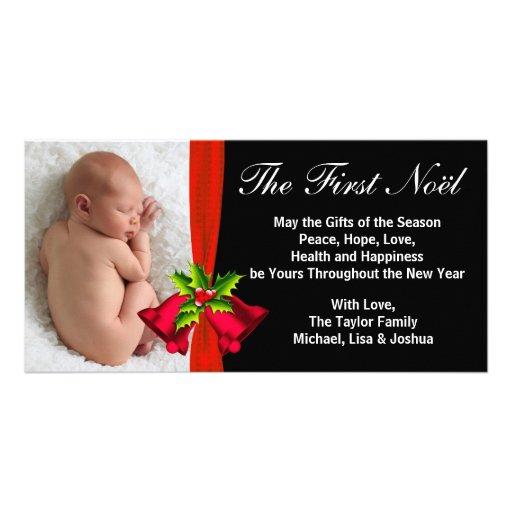 Premier carte photo de Noël du bébé rouge de Bells Photocartes Personnalisées