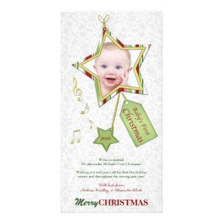 Premier carte photo de Noël du bébé unique Photocarte Customisée