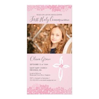 Premier carte photo de sainte communion - fille,