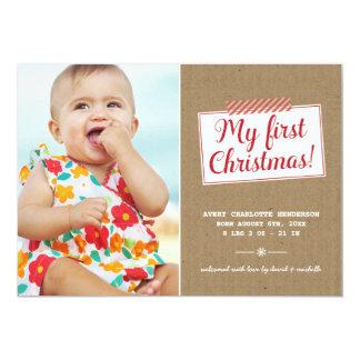 Premier carte photo de vacances de Noël |