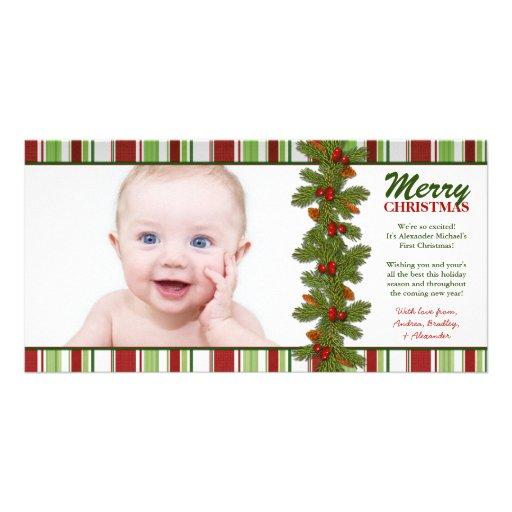 Premier carte photo de vacances de Noël du bébé Cartes De Vœux Avec Photo