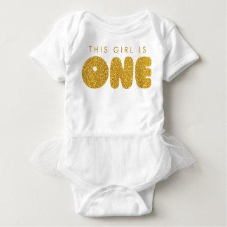 Premier équipement le d'or d'anniversaire de bébé body