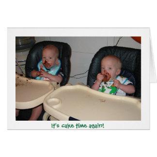 premier gâteau d'anniversaire de garçons jumeaux carte de vœux