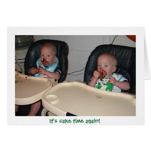 premier gâteau d'anniversaire de garçons jumeaux carte