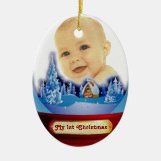 Premier globe de Noël de bébé Ornement Ovale En Céramique
