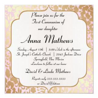 Premier invitation d'or métallique de communion de