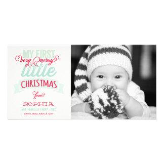 Premier joyeux petit carte photo de Noël du bébé Photocarte Personnalisée