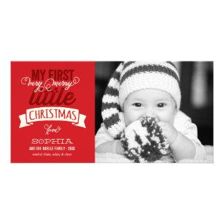 Premier joyeux petit carte photo de rouge de Noël Photocartes