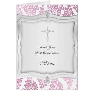 Premier menu 2 de communion carte de vœux