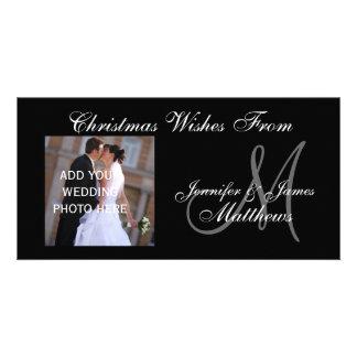 Premier monogramme marié PhotoCard de Noël Cartes De Vœux Avec Photo