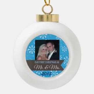 Premier Noël comme M. et Mme Customizable Photo Boule En Céramique