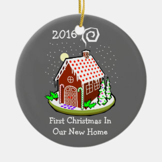 Premier Noël dans notre nouvelle maison 2016 (pain Ornement Rond En Céramique
