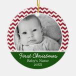 Premier Noël de Babys - chevrons rouges et vert Décorations Pour Sapins De Noël