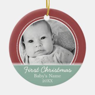 Premier Noël de Babys Ornement Rond En Céramique