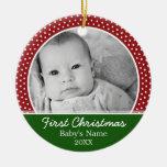 Premier Noël de Babys - pois rouge Ornement Rond En Céramique