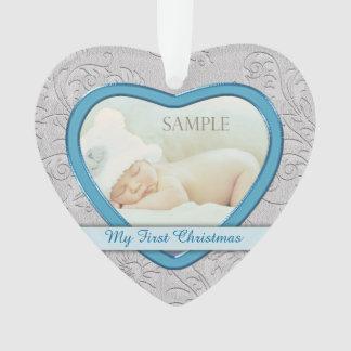 Premier Noël de bébé bleu argenté de coeur