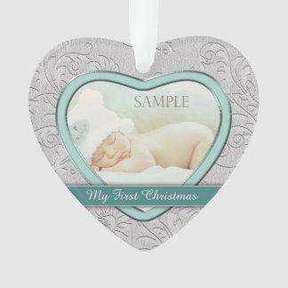 Premier Noël de bébé turquoise argenté de coeur