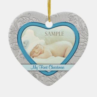 Premier Noël de coeur de bébé argenté de remous Ornement Cœur En Céramique