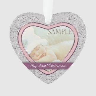 Premier Noël de coeur de bébé argenté de rose