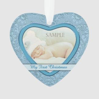 Premier Noël de coeur de bébé bleu de remous