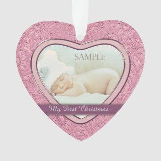 Premier Noël de coeur de bébé rose de remous