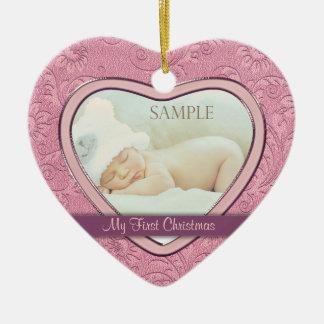 Premier Noël de coeur de bébé rose de remous Ornement Cœur En Céramique