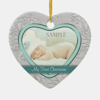 Premier Noël de coeur de bébé turquoise argenté de Ornement Cœur En Céramique