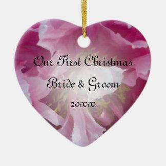 Premier Noël de pivoine rose ensemble Ornement Cœur En Céramique