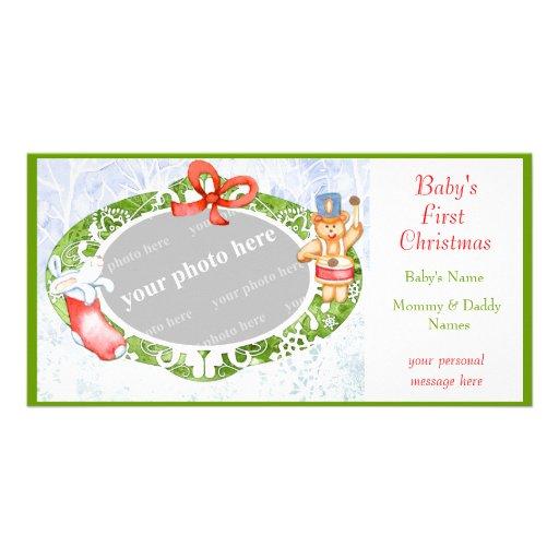 Premier Noël du bébé Carte Avec Photo